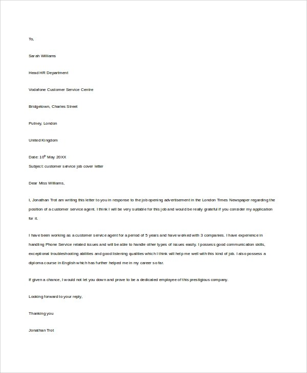 cover letter sample for customer service professional resumes - Samples Of Customer Service Cover Letters