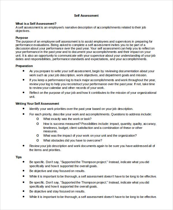 sample self assessment for work - Kubreeuforic