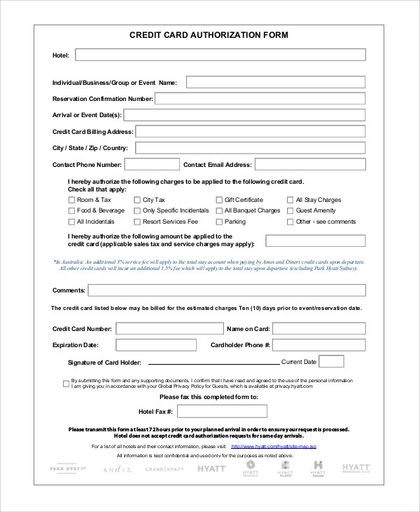 Sample Credit Card Authorization Form - 8+ Examples in Word, PDF