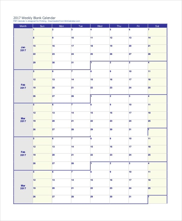 10+ Free Printable Weekly Calendars Sample Templates - print free weekly calendar