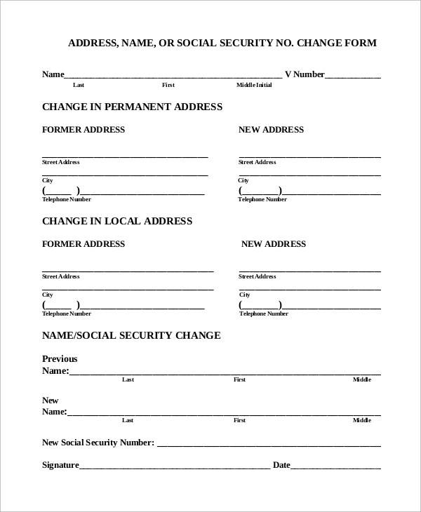 7+ Social Security Change of Address Samples Sample Templates