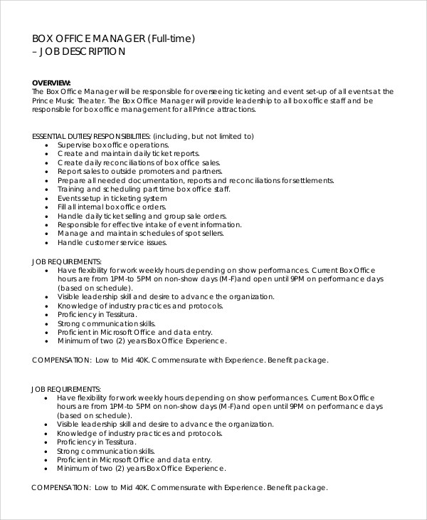 Sample Office Manager Job Description - 9+ Examples in PDF, Word