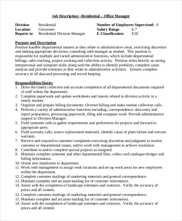 Job Description For Office Administrator Manager  Curriculum