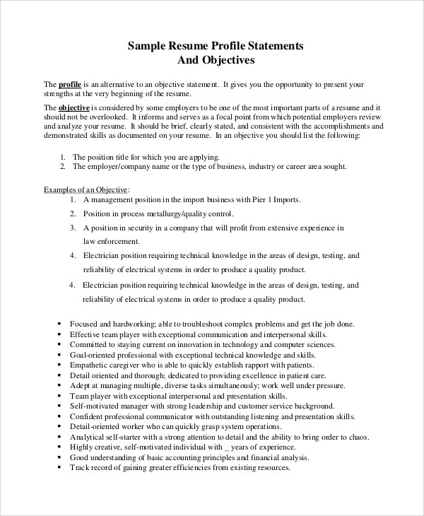 8+ Sample Resume Objectives Sample Templates - business resume objectives