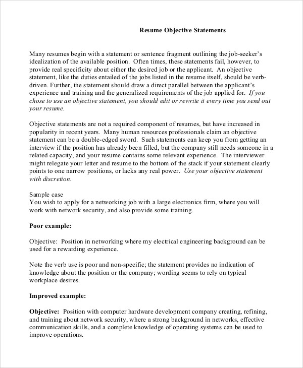 Sample Resume Objective - 8+ Examples in PDF - examples of resume objective