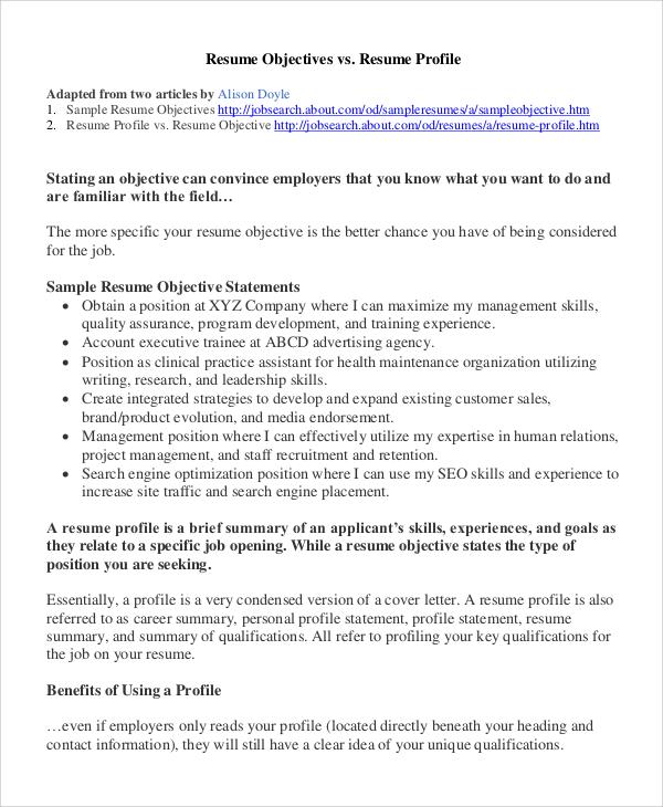 8+ Sample Resume Objectives Sample Templates