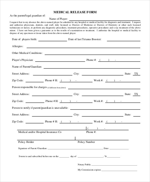 9+ Sample Release Forms Sample Templates - medical release form sample