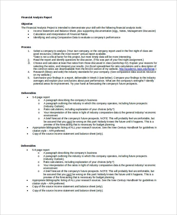 financial analysis report template