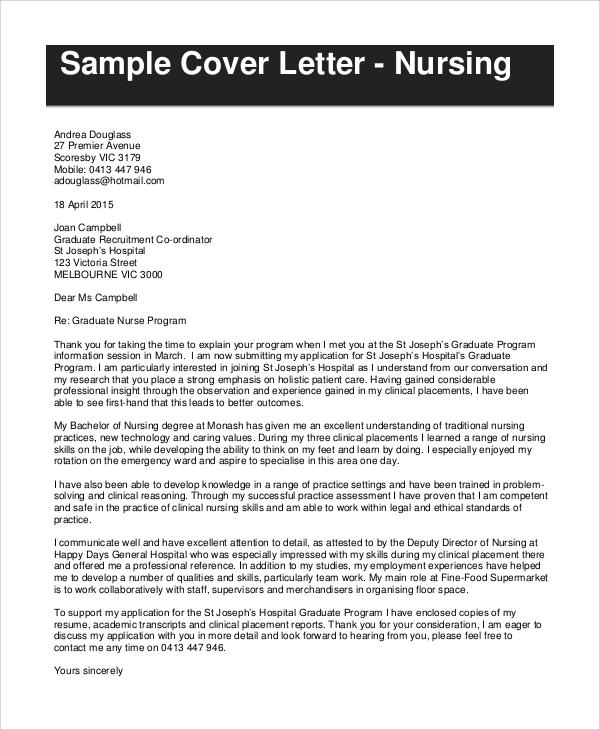 7+ Resume Cover Letter Samples Sample Templates - cover letter for nursing resume