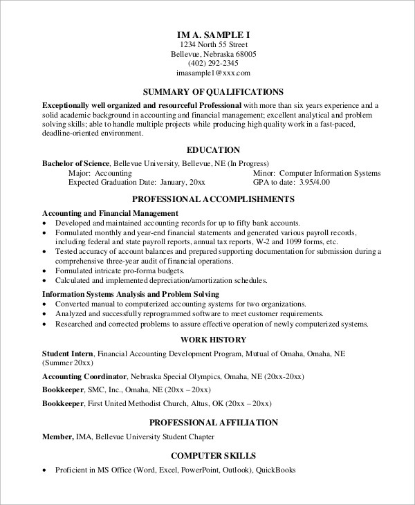 7+ Sample Professional Resumes Sample Templates