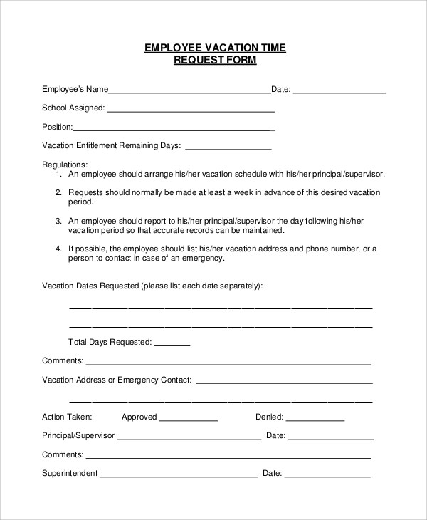 vacation form for employees - Onwebioinnovate