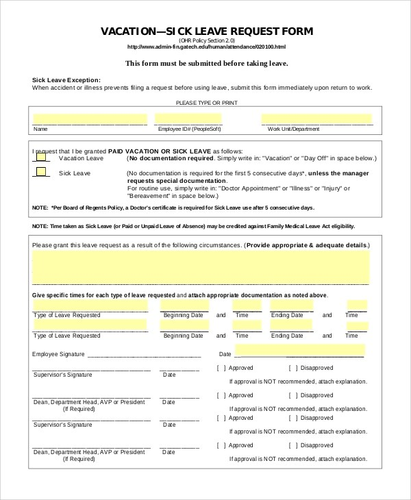 8+ Sample Vacation Request Forms Sample Templates