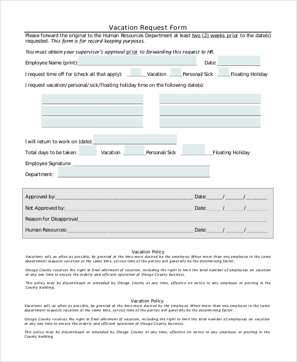 8+ Sample Vacation Request Forms Sample Templates - holiday request form