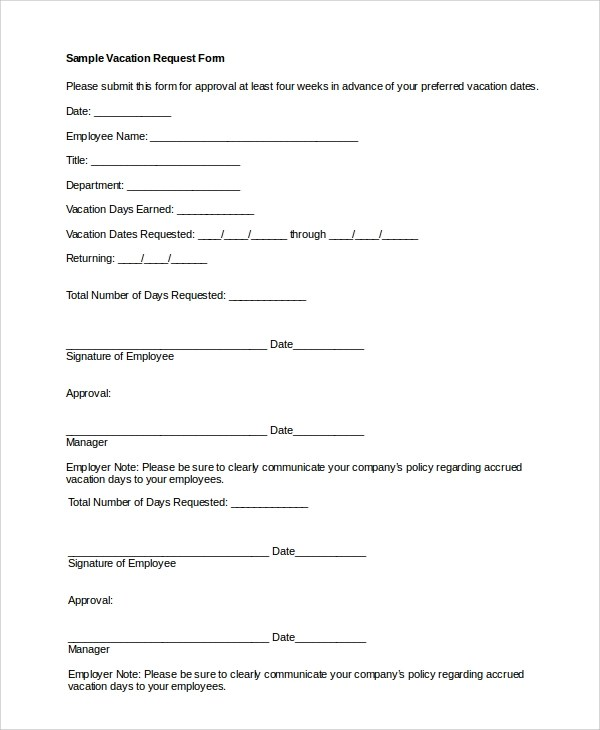 Employee Vacation Request Form Template Download | Medicare Hmr