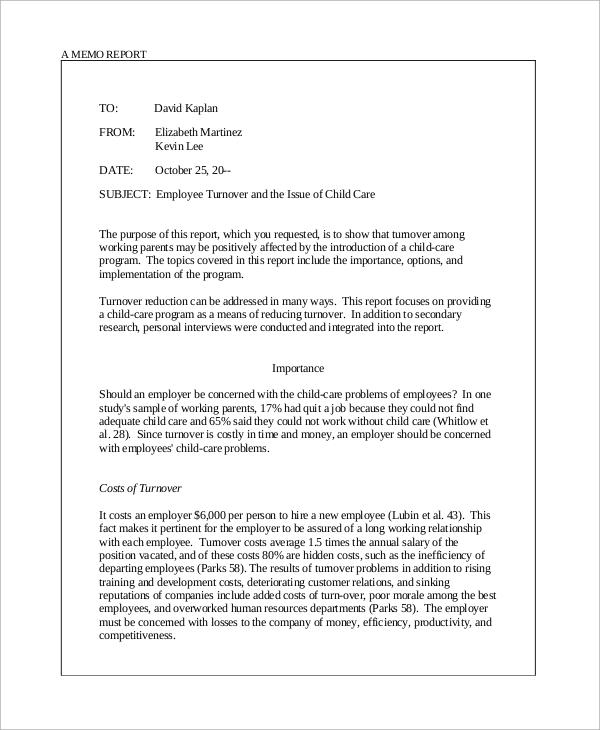 Sample Memo - 9+ Examples in Word, PDF