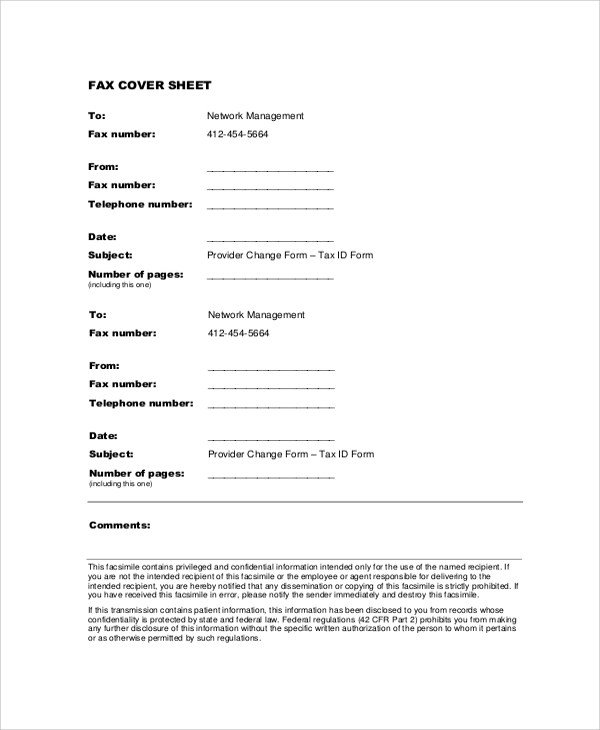 Sample Blank Fax Cover Sheet - 8+ Examples in PDF, Word
