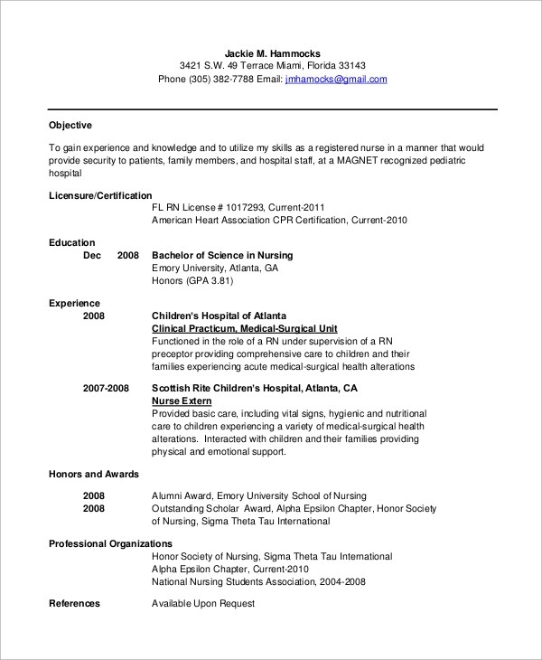 Sample Resume Free Resume Examples Sample Nursing Resume 10 Examples In Word Pdf