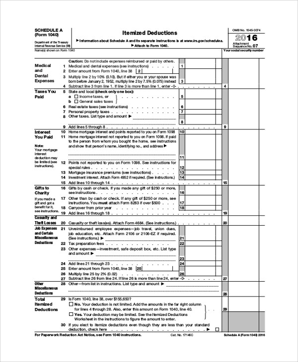 8+ Sample Schedule A Forms Sample Templates - Schedule A Form