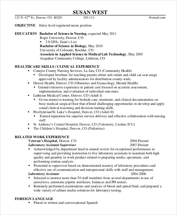 9+ Sample Registered Nurse Resumes Sample Templates - entry level registered nurse resume