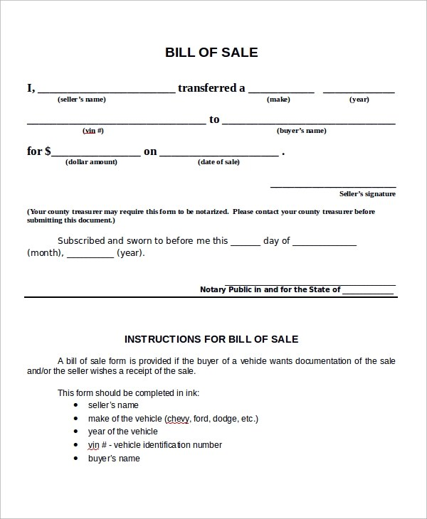 Bill of Sale Sample - 9+ Examples in PDF, Word - bill of sale word doc