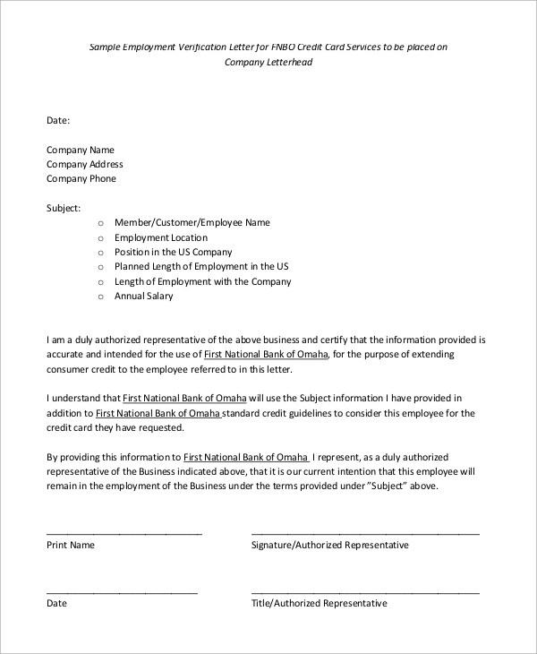 Reference Letter For Employment Verification