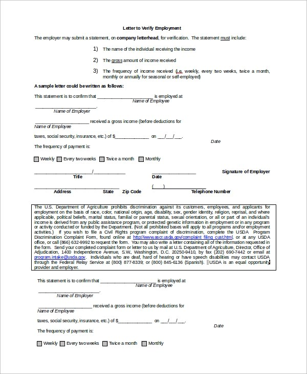 8+ Verification of Employment Letter Samples Sample Templates - sample income verification letter