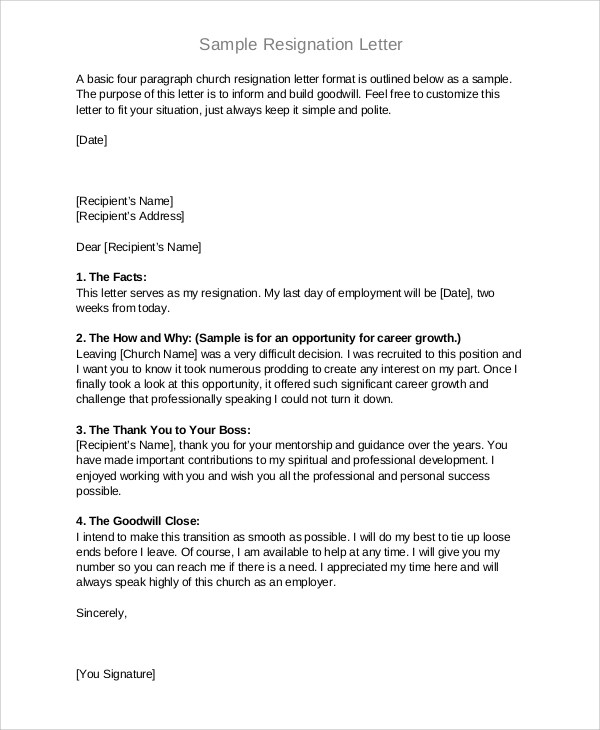 Sample Resignation Letter Format - 8+ Examples in Word, PDF