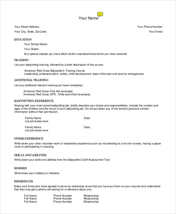 Sample Babysitter Resume - 7+ Examples in Word, PDF