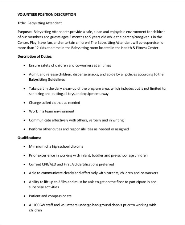 nanny responsibilities on resume
