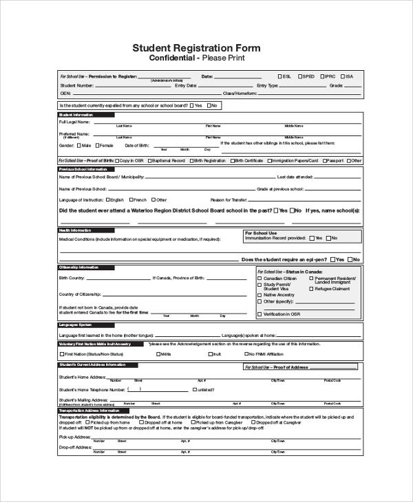 registration forms sample