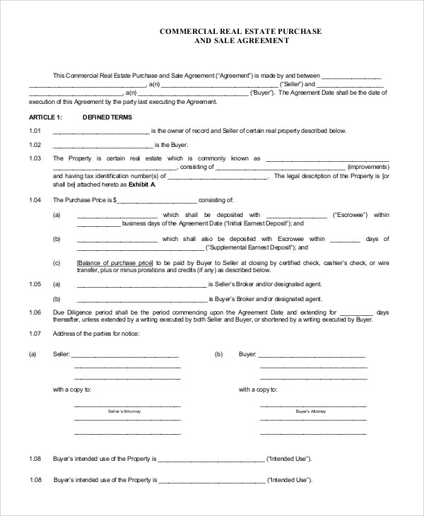 Sample Real Estate Purchase Agreement - 9+ Examples in PDF, Word - commercial purchase agreements