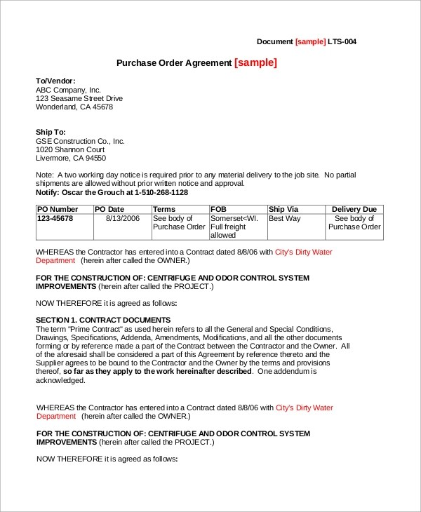 Purchase Order Agreement Template - Template Examples - purchase order contract template