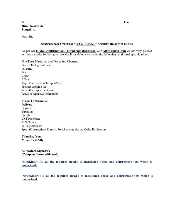 41+ Purchase Order Samples Sample Templates - purchase order letter format