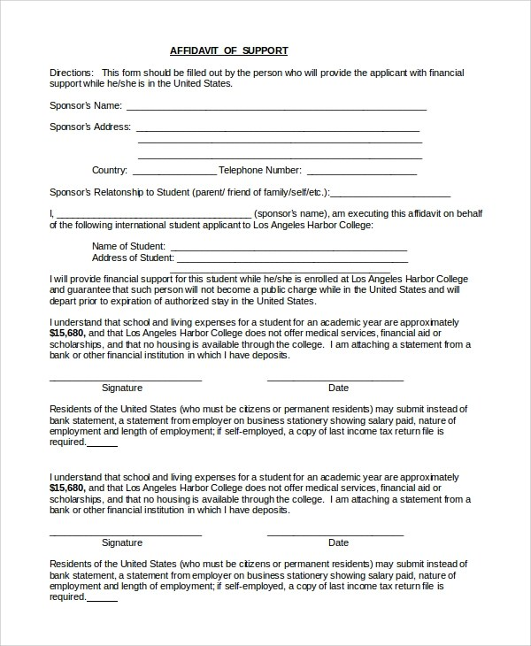 Sample Affidavit of Support Form - 9+ Examples in PDF, Word - affidavit of support
