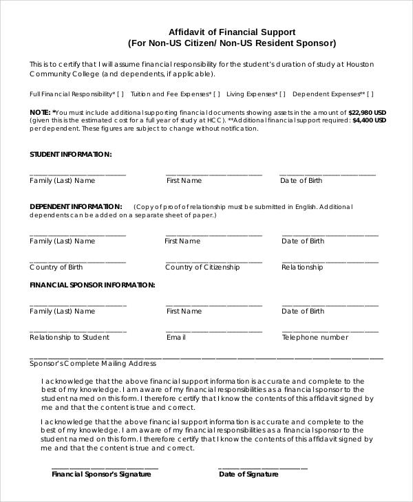9+ Sample Affidavit of Support Forms Sample Templates - blank affidavit