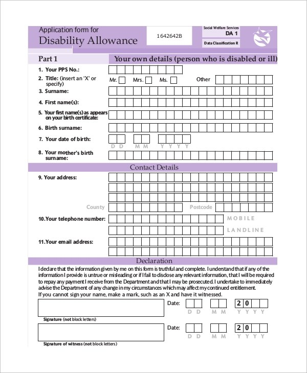 Sample Social Security Disability Form   6+ Examples In PDF   Disability  Application Form