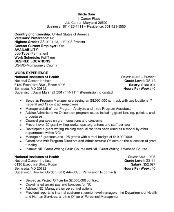 8+ Sample Federal Resumes Sample Templates - sample federal government resumes