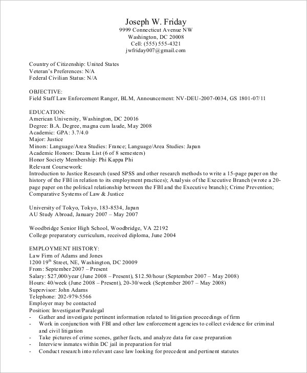 8+ Sample Federal Resumes Sample Templates - Federal Resumes Examples