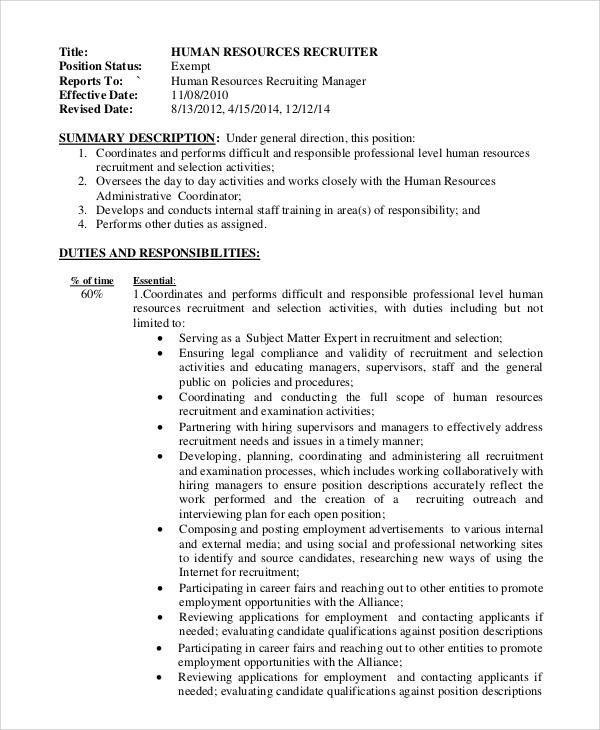 7+ Recruiter Job Description Samples Sample Templates