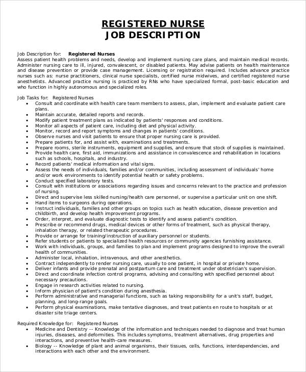 8+ Registered Nurse Job Description Samples Sample Templates