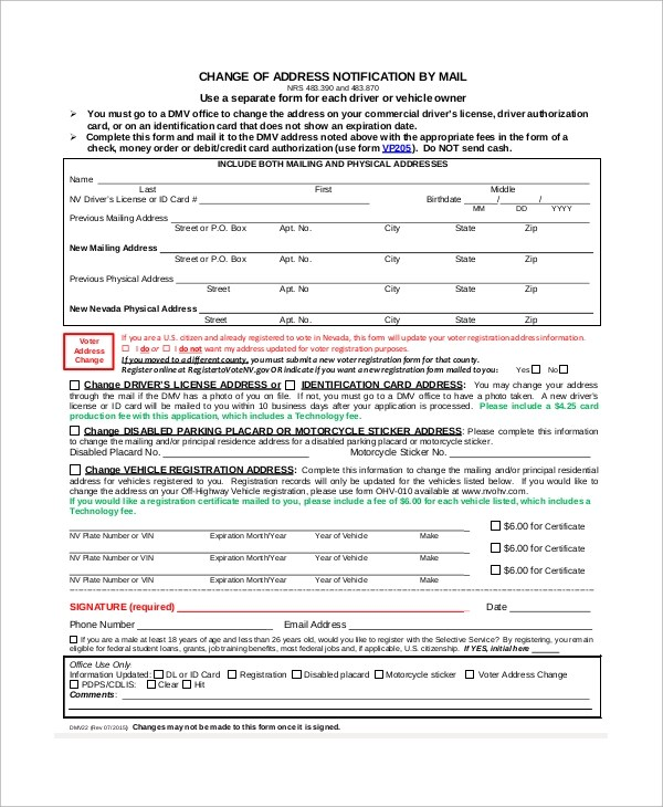 8+ Sample DMV Change of Address Forms Sample Templates