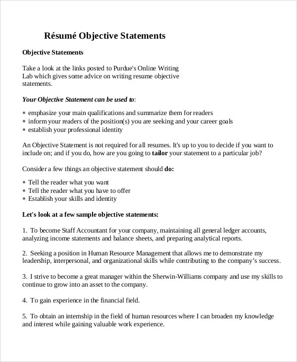 8+ Sample Resume Objective Statements Sample Templates
