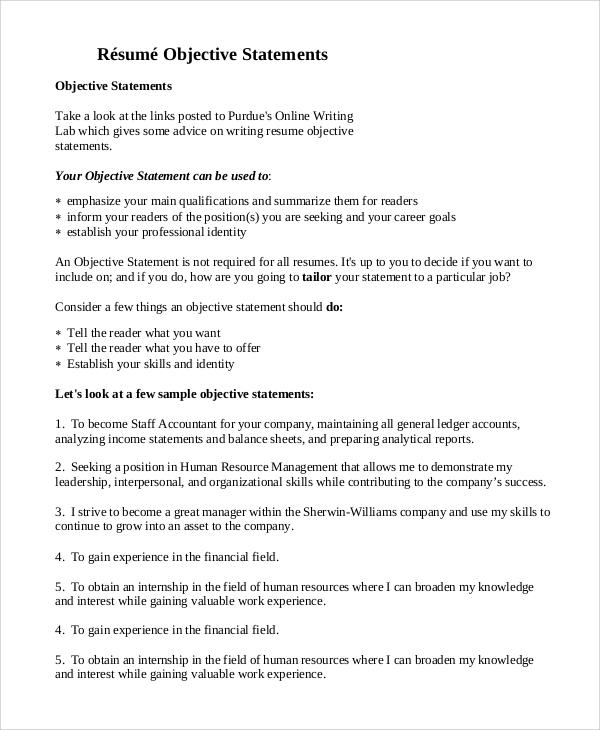 objective statement for nursing resume