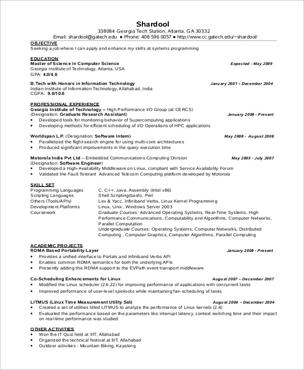 Resume For Freshers Engineering For Computer Science