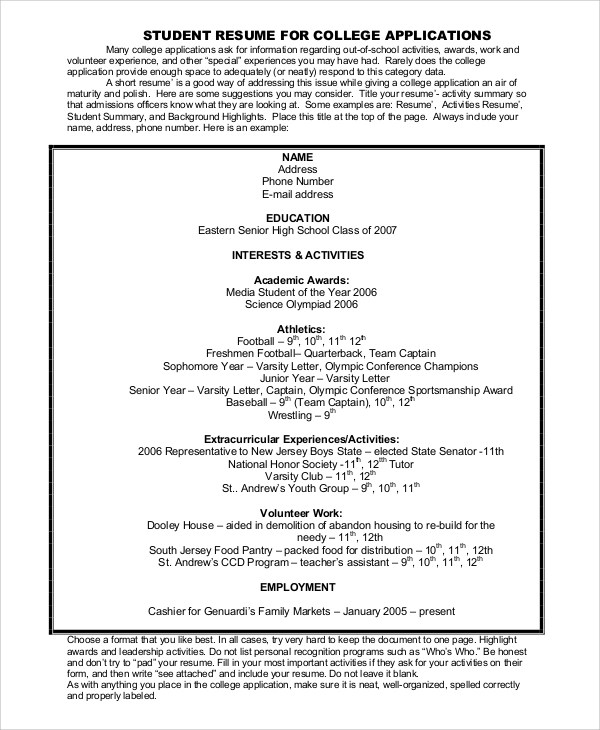 8+ College Resume Examples Sample Templates
