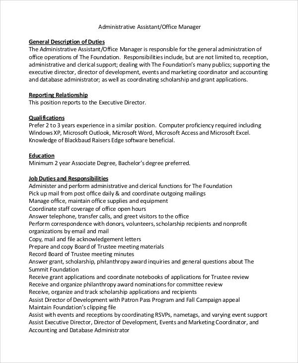Accounting Assistant Job Description Job Description Resume - executive assistant job description resume