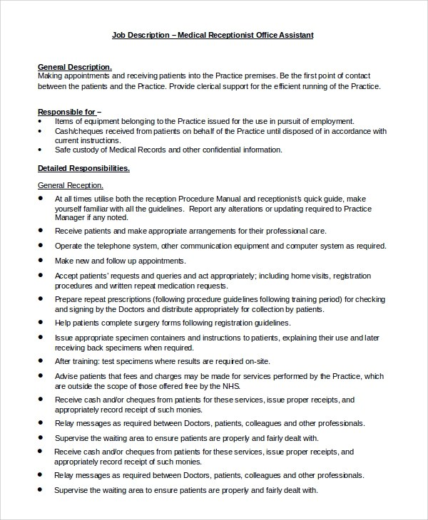 sample office assistant job description 8 examples in pdf word clerical assistant