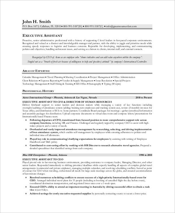 8+ Sample Executive Resumes Sample Templates