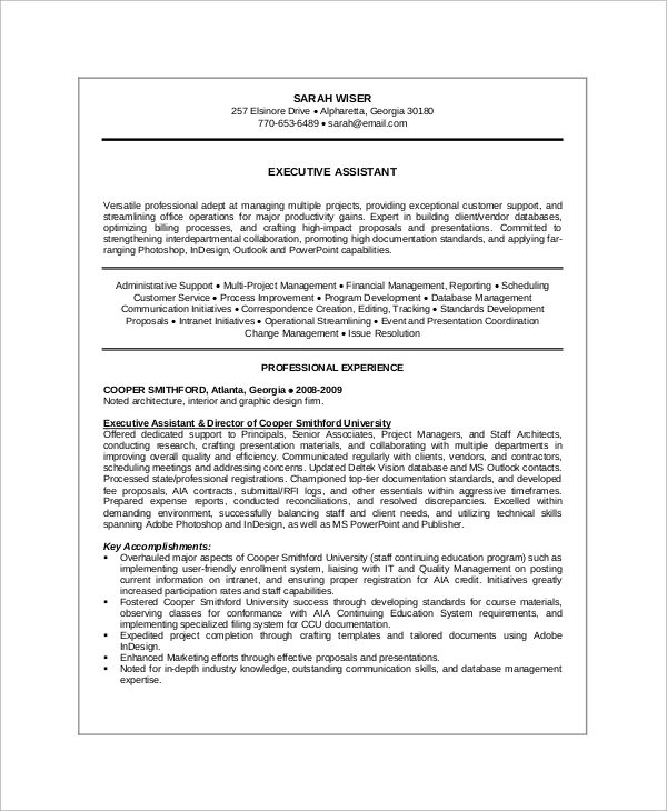 sample resume summary for administrative assistant