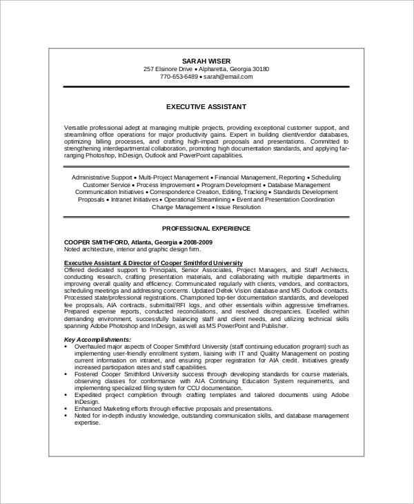 executive summary of resume